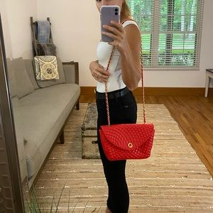 Vintage Red Quilted Purse